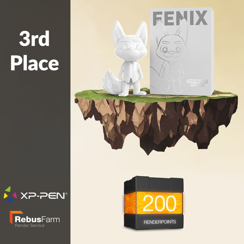 XP-Pen Mascot and 200 Renderpoints